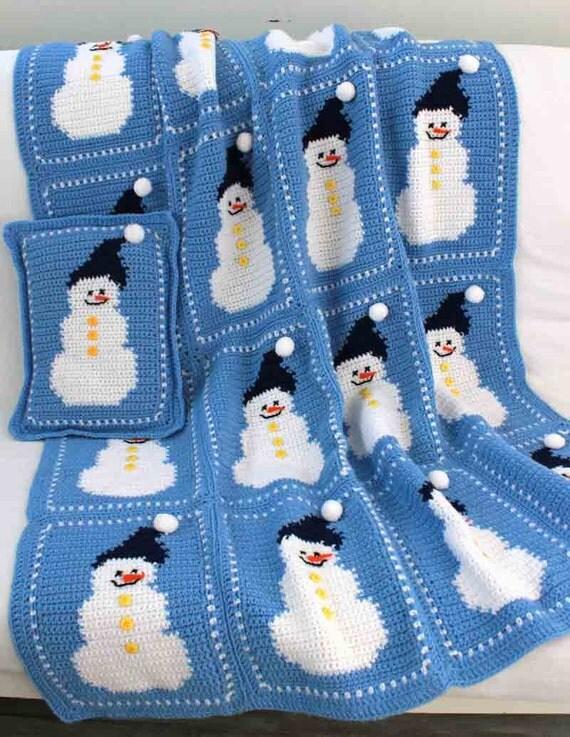 Snowman Cushion Knitting Pattern : Snowman Afghan and Pillow Pattern PDF