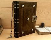 """RESERVED. Leather Journal / Blank Book with Lock and Key, Dark Brown, Antiqued Leather - """"The Brown Book"""""""