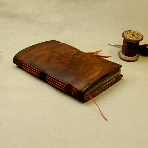 RESERVED: Rustic Leather Journal, dark brown red leather, antiqued pages