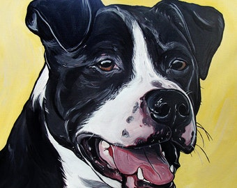 PIT BULL dog art print black and white yellow bright colors 8x10
