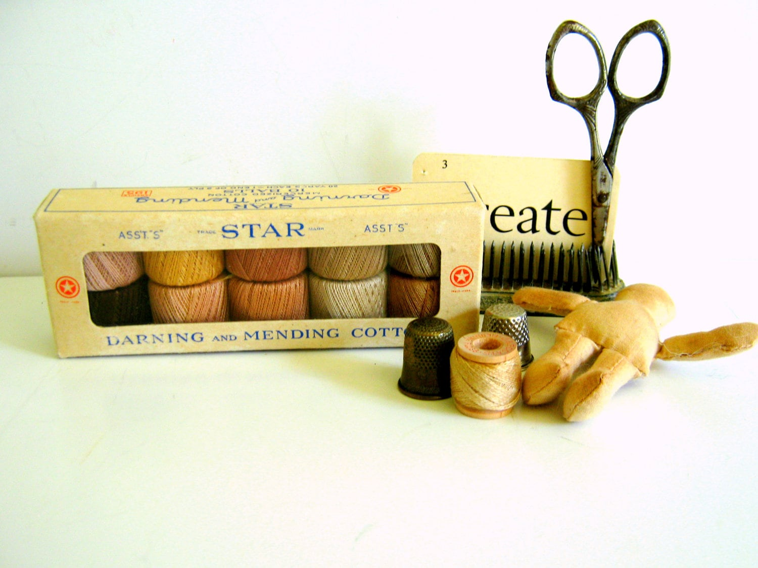 Vintage Sewing Supplies Darning Thread Mending Cotton