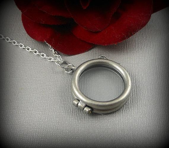 Clear Glass, Antique Silver Locket, Round Bezel 3D Art Locket, Keepsake Locket-  CRYSTALLINE