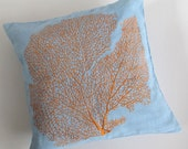 STOCK CLEARANCE 20% OFF- orange coral on blue throw pillow custom made 18 inch 2 in stock.