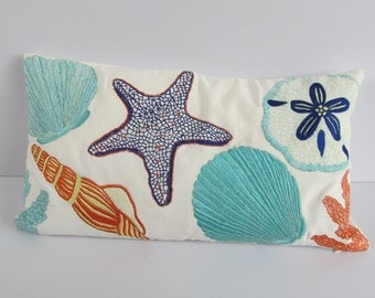 Beach pillow. sea themed throw pillow. colourful sea themed pillow  cover in off white with sea creatures embroidery  12X20