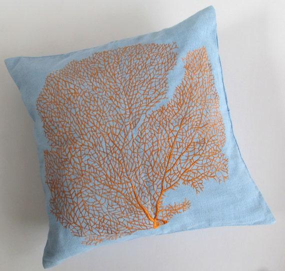 Blue  pillow  orange coral on sky  blue throw pillow. Seatheame pillow.  custom made 18 inch.