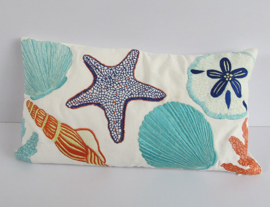 Beach pillow. sea themed throw pillow. colorful sea themed