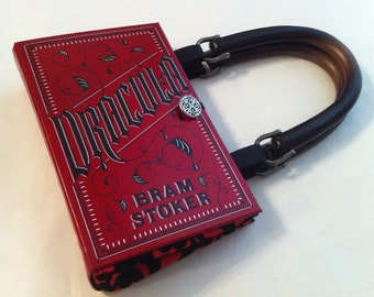 Dracula Book Purse - Blood Red Taffeta Damask Fabric - Count Dracula Book Cover Handbag - Vlad The Impaler Gift