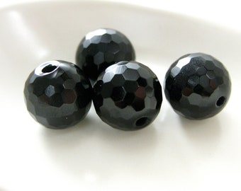 Faceted Onyx Round Bead 10mm
