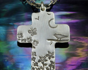 Garden Cross, Sterling Silver