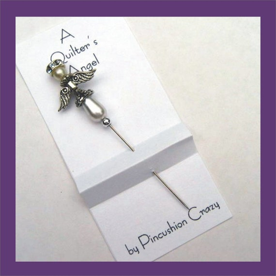Pearl Angel Pin - A Quilter's Angel - Decorative Sewing Pin - Scrapbooking Pin - Cardmaking Pin