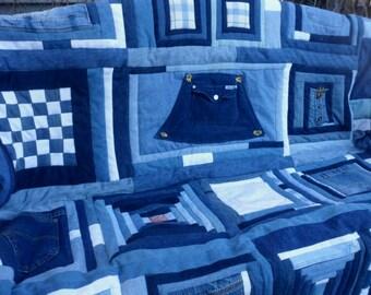 """Blue Jean Quilt Patchwork Sampler Upcycled Denim 60""""x 82"""" Blue White Quilt Pocket Jeans Boys Quilt Log Cabin Quilt Blue Quilt Overalls Quilt"""