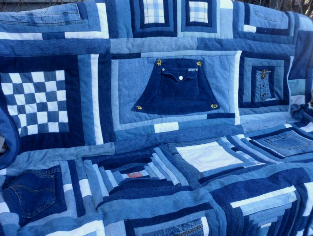 Blue Jean Quilt Patchwork Sampler Upcycled Denim 60x