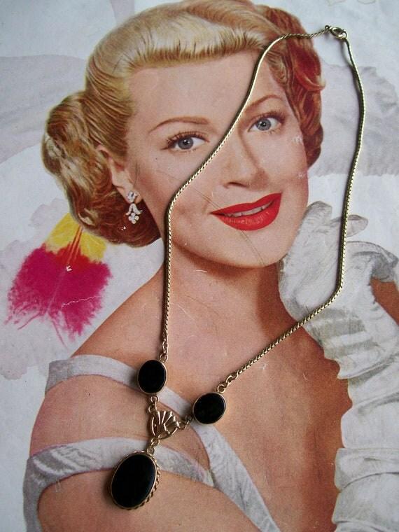 Vintage Gold Tone Victorian Black Glass Dangle Drop Necklace Wedding Bridal