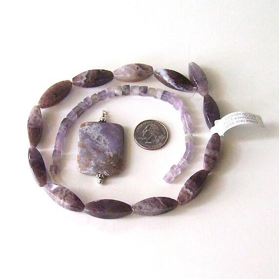 Gemstone Bead Kit - Purple Lace Agate, Fluorite and Violet Opal Swarovski Crystal DIY Beading Jewelry Making