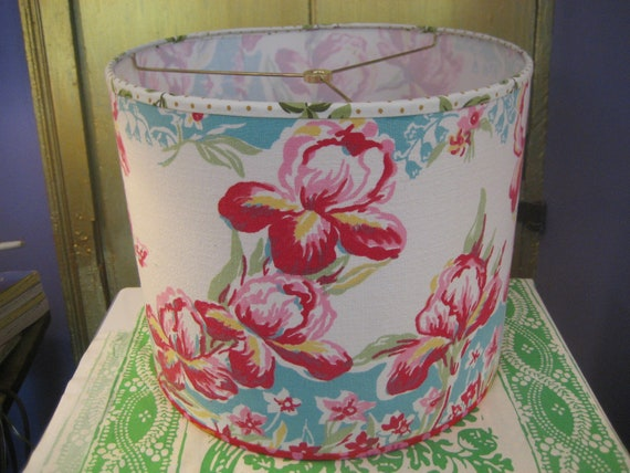 "12"" Drum Shade from 50s Floral Tablecloth"