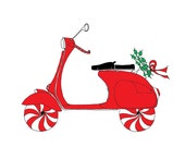Vespa Scooter - Christmas - Holiday Card - set of 8