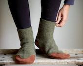 Wool Slippers, Eco Friendly, women size 9.5, 11, men size 10, Wide Width, Tree hugger - WoolyBaby