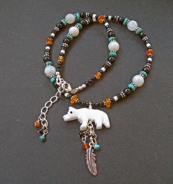 reserved custom order ooak turquoise wolf totem necklace