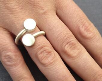 Sterling Silver Double Circle Matt Geometric Wrap Ring