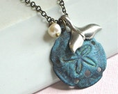 Sand Dollar Necklace -  Whale Tail, Mermaid Tail, Patina, Pearl,  Brass, Ocean Jewelry, Beach Jewelry
