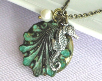 Seahorse Shell Locket Necklace -  Ocean Jewelry, Verdigris Patina Brass