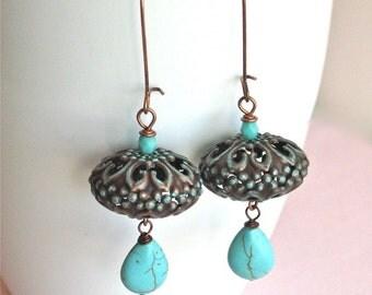 Copper Turquoise Earrings - Patina, Bohemian, Long