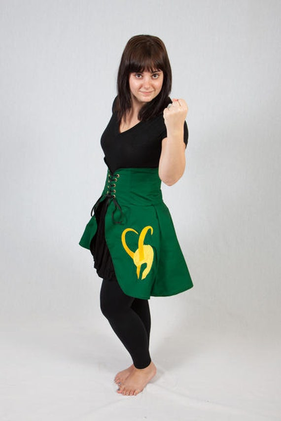 Loki Inspired Long Length Cincher Skirt- M/L SAMPLE SALE
