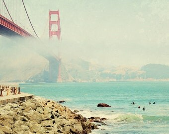 BUY 2 GET 1 FREE San Francsico Photography, Golden Gate Bridge, fpoe, Surfers, Fog, Orange, California - Waiting For the Waves  Fine Art P