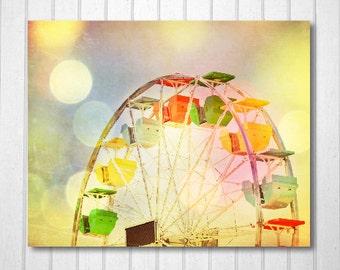 BUY 2 GET 1 FREE Carnival Photography, Nursery, fpoe, Ferris Wheel, Bokeh, Wall Decor, Rainbow, White, Pink - Bokeh Wheel  -