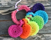 electric handheld rainbow, crocheted t-shirt yarn key ring toy for baby in neon by yourmomdesigns(rts)