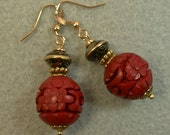 Vintage Chinese 1970s Red Cinnabar Bead Earrings, Vintage 1970s Chinese Black Abacus Cloisonne Beads ,Gold