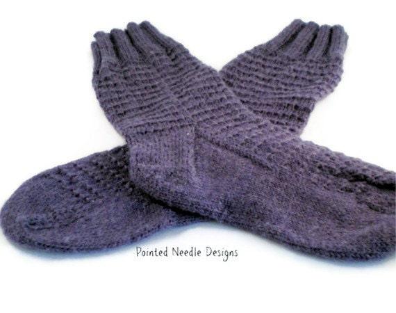Hand Knit Socks -  Women's Purple Patterned Socks