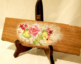Hand Painted Rose Wooden Plaque