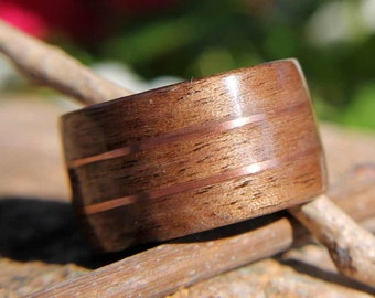 Bentwood Ring Walnut with Double Copper Wire Inlays