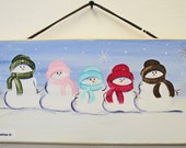 Personalized Winter  sign, plaque, with snowmen of penguins