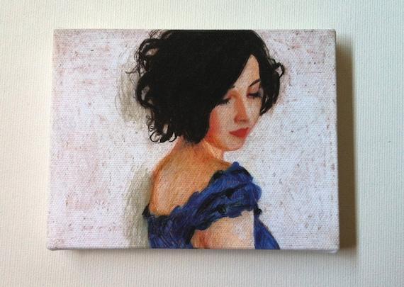 Rimma / tiny canvas print- Portrait painting -Print of Original pastel drawing - CANVAS ART PRINT- wall hanging