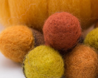 Needle Felted Acorns Large Wool Dozen Any Color