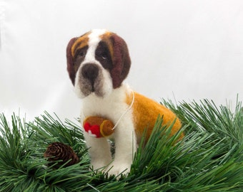 Needle Felted Dog  #EtsyGifts St Bernard Sculpture Wool