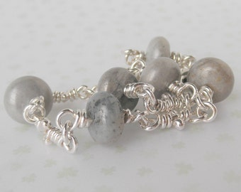 Grey Agate Bracelet - Sterling Silver Knot Links - Handmade Chain - Rustic Gray Gemstone Bracelets - Organic Knots - Link Boho Jewelry