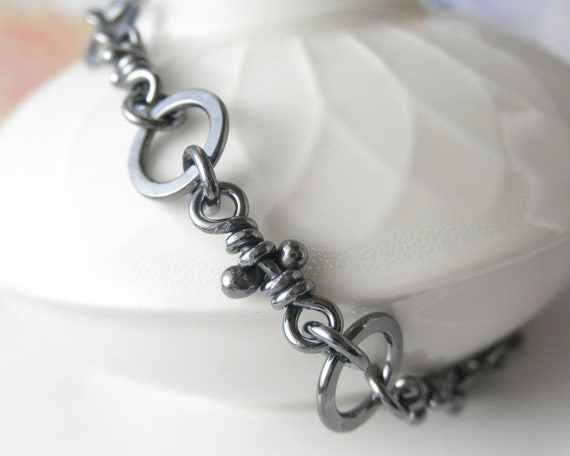 Sterling Silver Bracelet. Linked Knots. Rustic Oxidized Links. Handmade Chain -Old Malena-