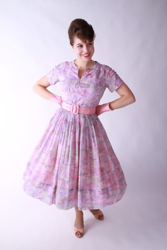 Vintage 1960s Dress - Watercolor Day Dress with Full Skirt