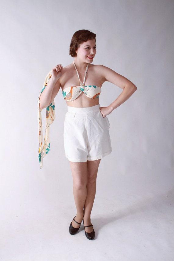 BLACK FRIDAY SALE - Vintage 1940s Playsuit - Bikini Top Set in Rayon Jersey Novelty Print