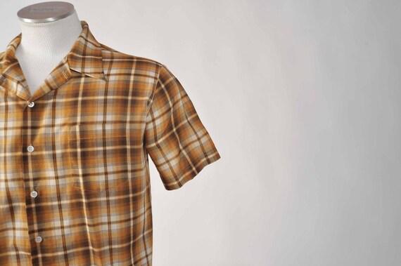 Vintage 1970s Penney's Brown Plaid Short Sleeve Summer Shirt