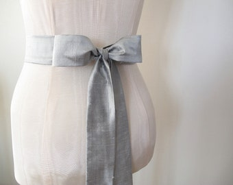 Grey Sash Dupioni Silk Wedding Sash - longer length - made to order - limited