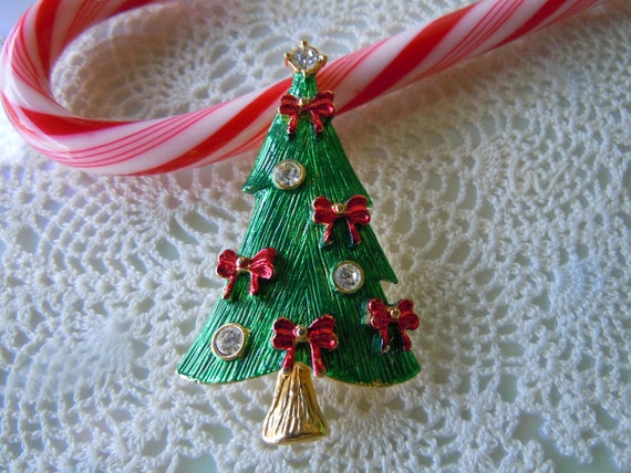 Reserved for Judy Vintage Jewelry Christmas Tree Brooch Pin Enamel