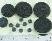 Assorted black braided buttons vintage refashion sewing ucycle button collection