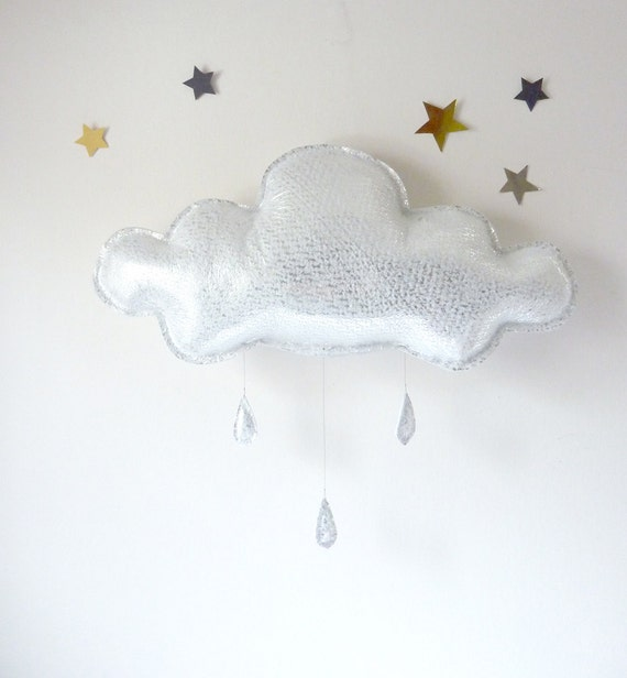 The Big silver Rain cloud with silver raindrops by The Butter Flying-