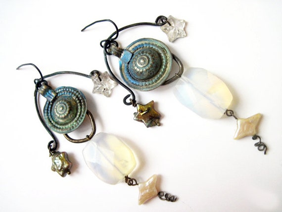 Spark and Sparkle. Cosmic Victorian Tribal Earrings with pearls, opal glass and turkoman kuchi.