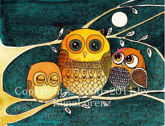 Owl babies-  Owl Painting - room decor - home decor - nursery wall art - bird art