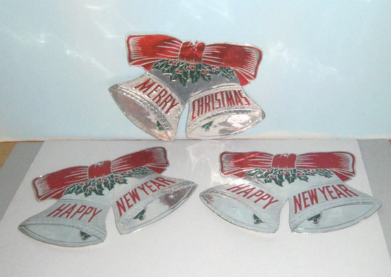 Vintage Foil Bells Merry Christmas and Happy New Year